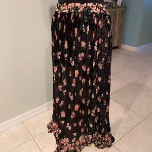 Vintage Miss Oxford Crushed Velvet Maxi Skirt
